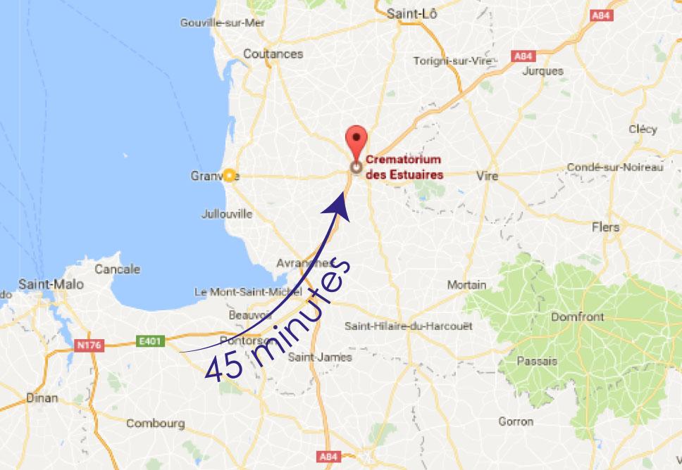 crematorium dol-de-bretagne distance